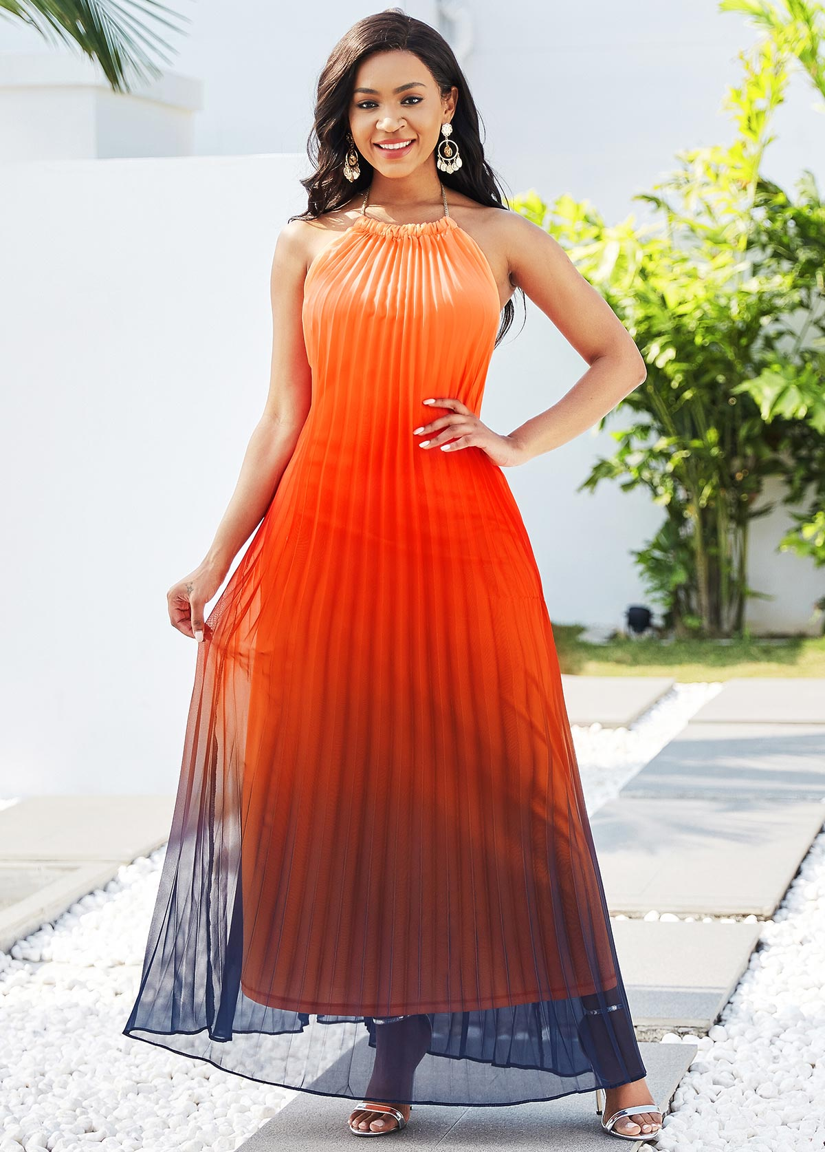 Red Ombre Halter Pleated Maxi Dress