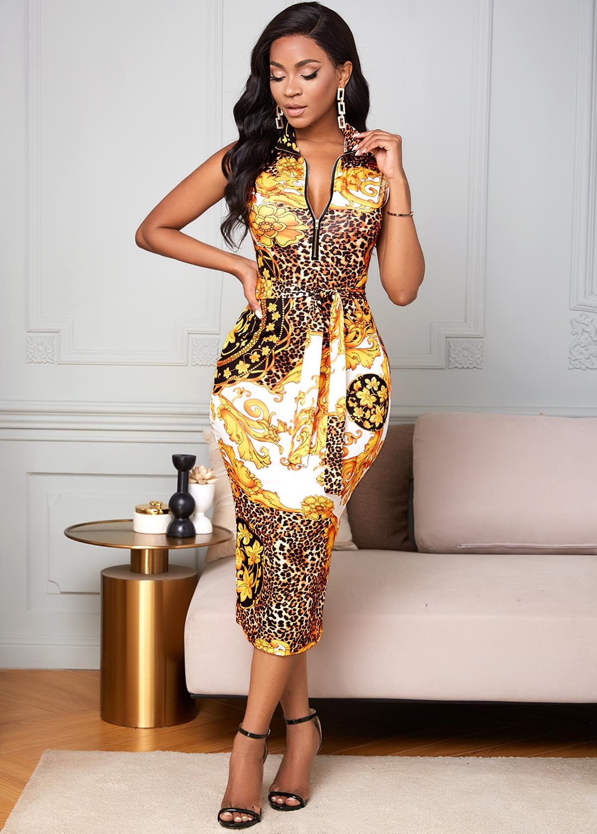 Baroque Print Sleeveless Zipper Detail Bodycon Dress