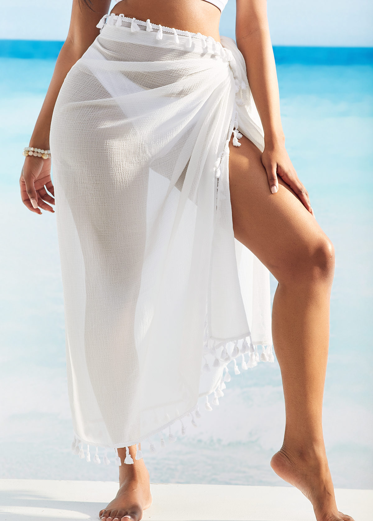 Multi Wear Tassel Detail White Cover Up