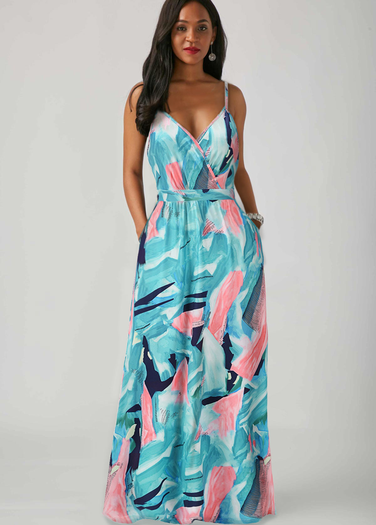 Pocket Printed Spaghetti Strap Maxi Dress