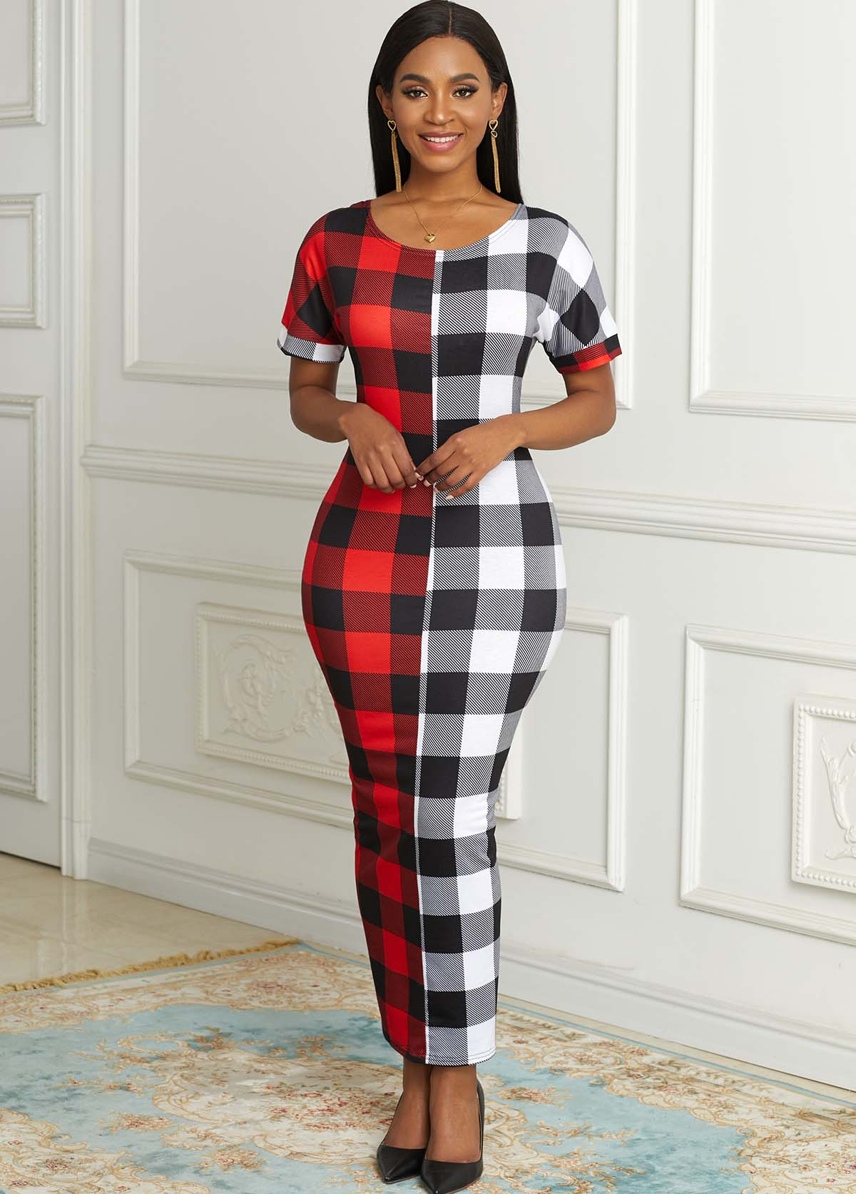 Round Neck Short Sleeve Plaid Dress