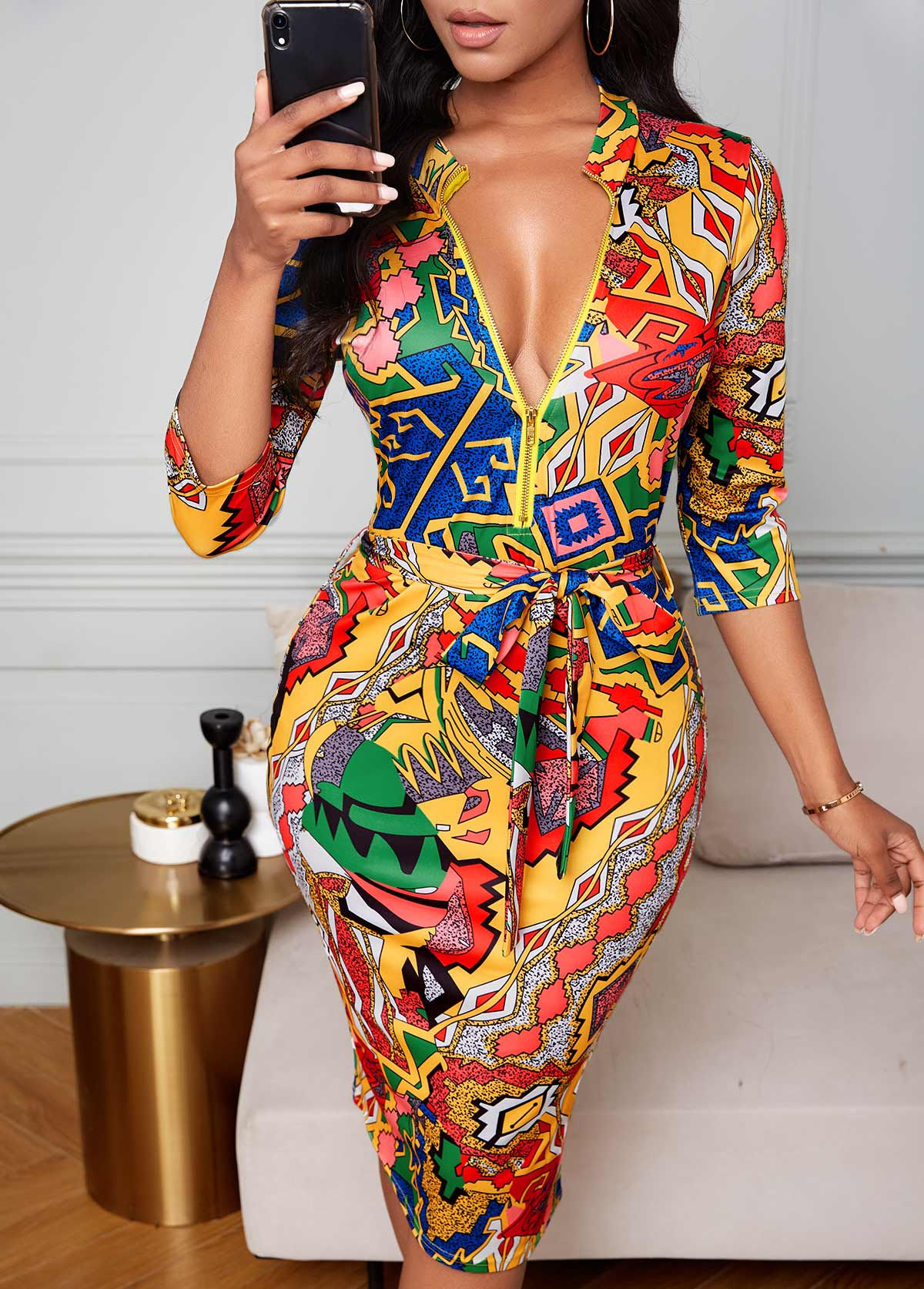 Zipper Detail Geometric Print Bodycon Dress