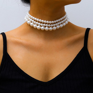 Pearl Detail White Boho Necklace Set