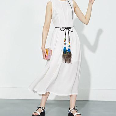 Peacock Feathers Design Bohemia Weave Belt