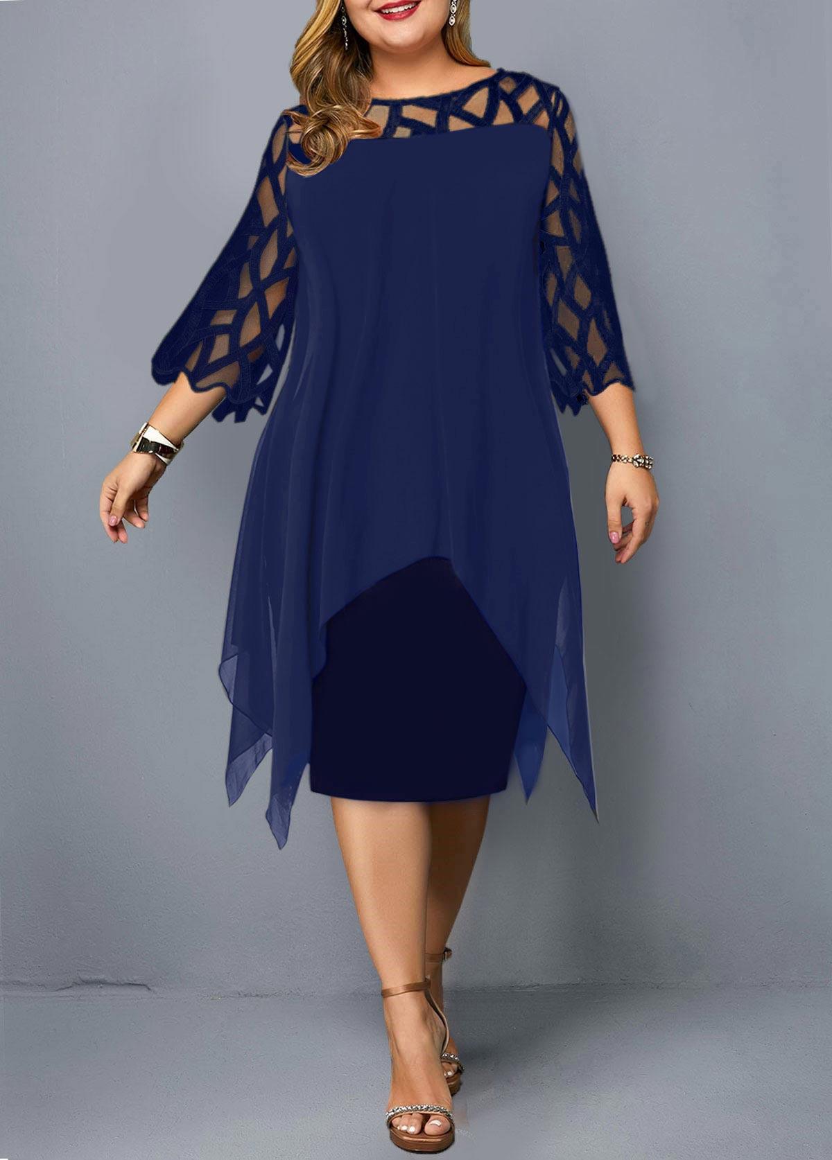 ROTITA Plus Size Asymmetric Hem Mesh Stitching Dress