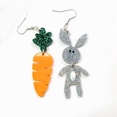 Easter Rabbit and Carrot Earring Set