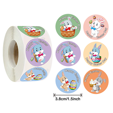 Circular Easter Animal Prints Colorful Sticker