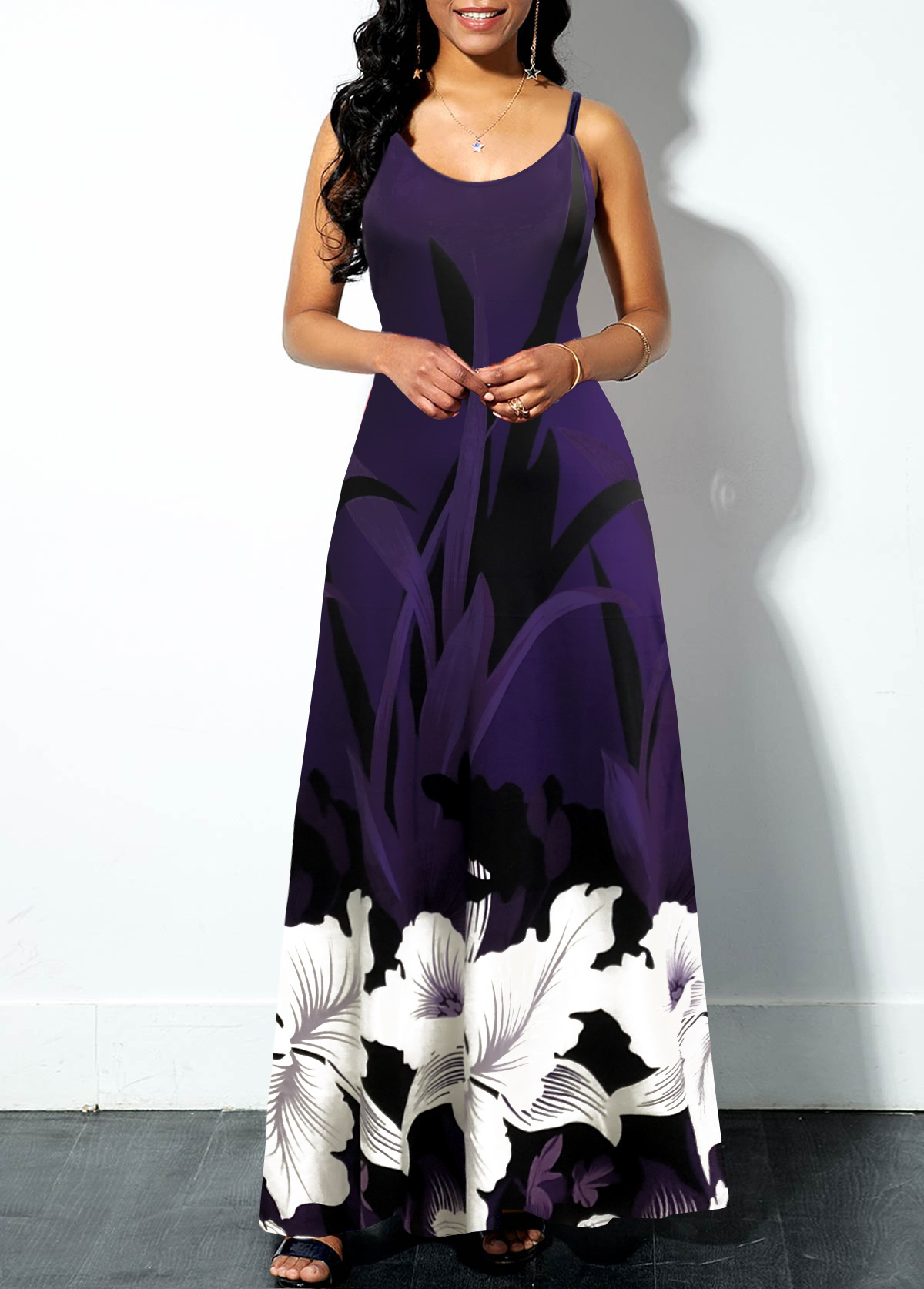Floral Print Spaghetti Strap Swing Dress