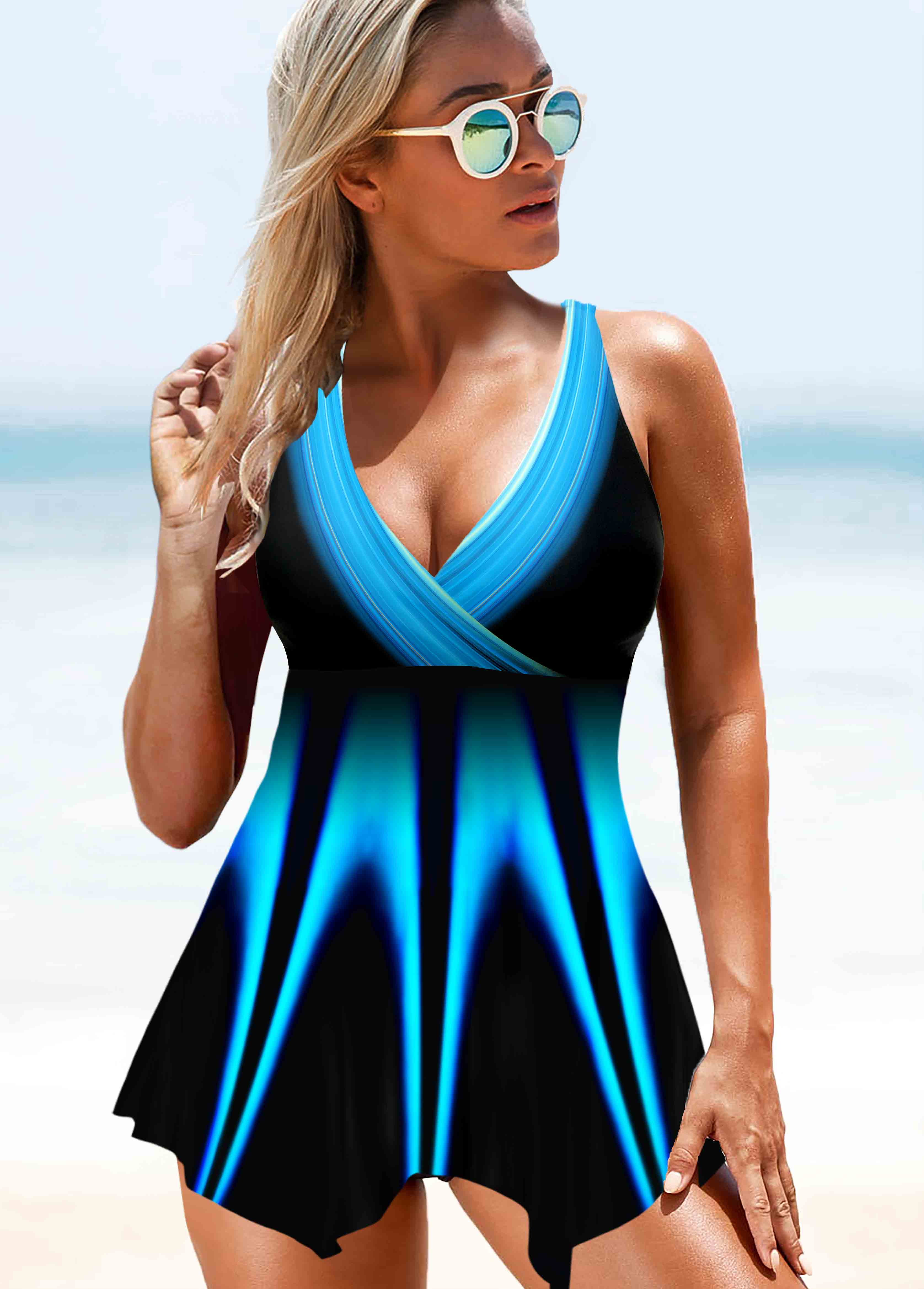 ROTITA Printed Asymmetric Hem Swimdress and Panty