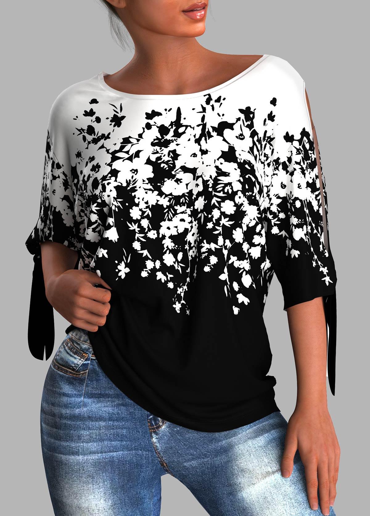 ROTITA Tie Sleeve Round Neck Floral Print T Shirt