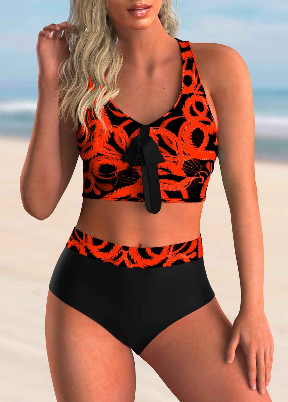 ROTITA Printed Bowknot Detail Criss Cross Back Bikini Set