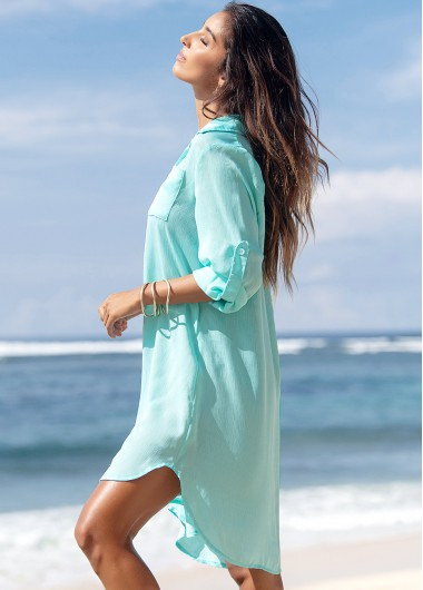 Turndown Collar Double Pocket Button Up Cover Up