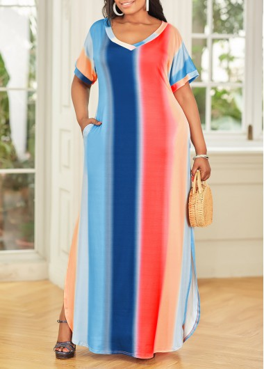 Plus Size Side Slit Pocket Ombre Dress