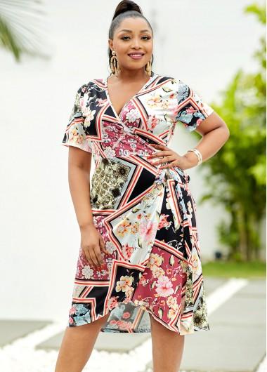 Tie Side Plus Size Floral Print Dress