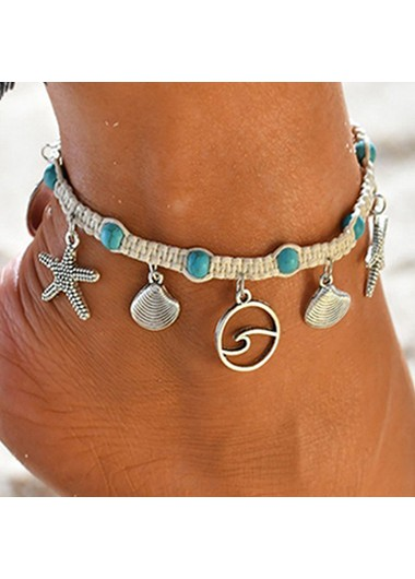 Seashell Design Silver Metal Turquoise Anklet