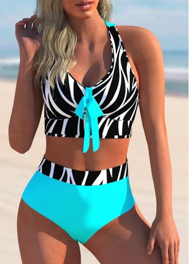 ROTITA Bowknot Zebra Print Criss Cross Back Bikini Set
