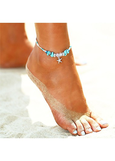 Turquoise Detail Starfish and Conch Design Anklet