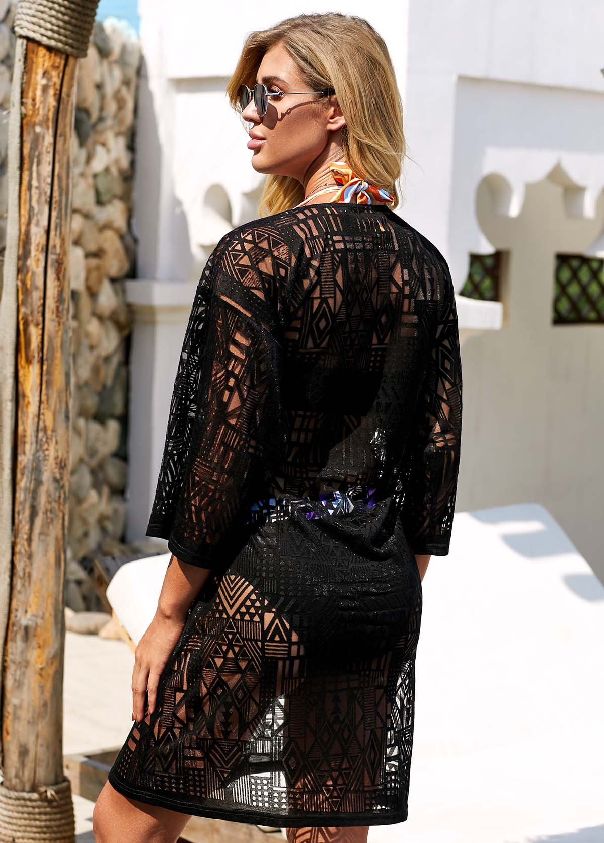 ROTITA Tie Front Black Three Quarter Sleeve Lace Cover Up