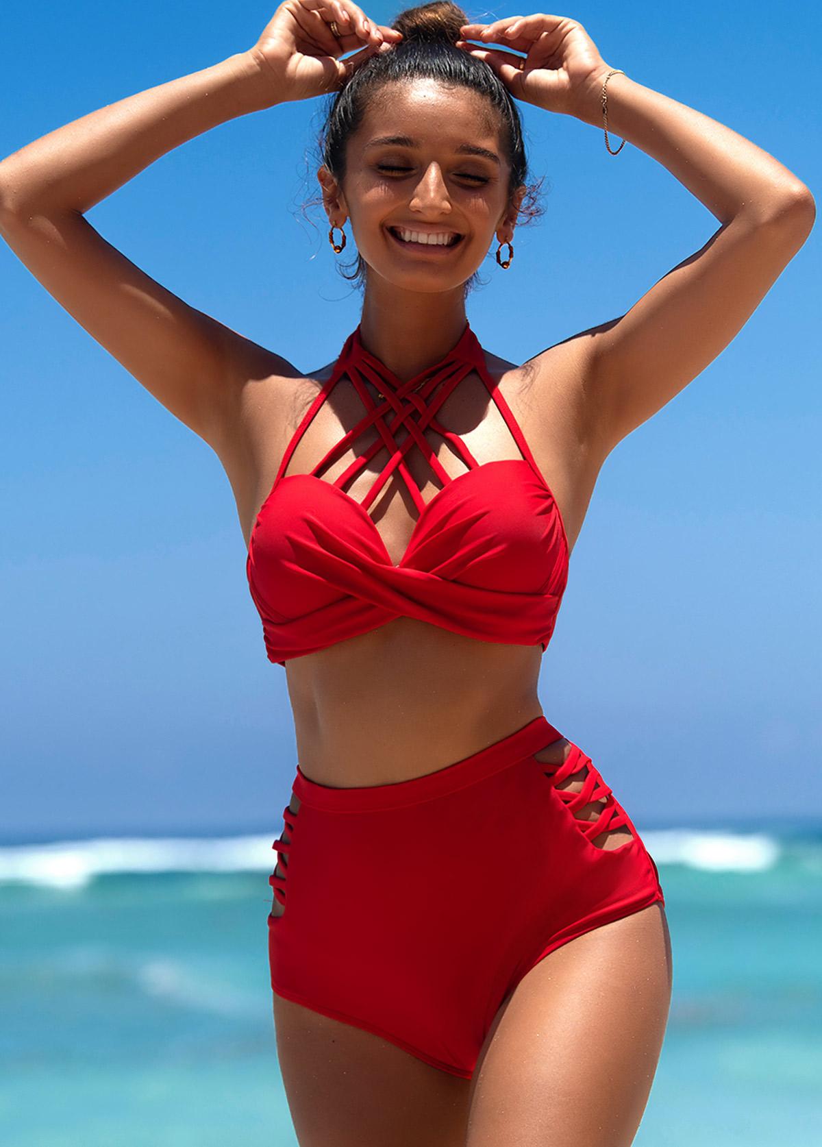 ROTITA Red Strappy Neck High Waist Bikini Set