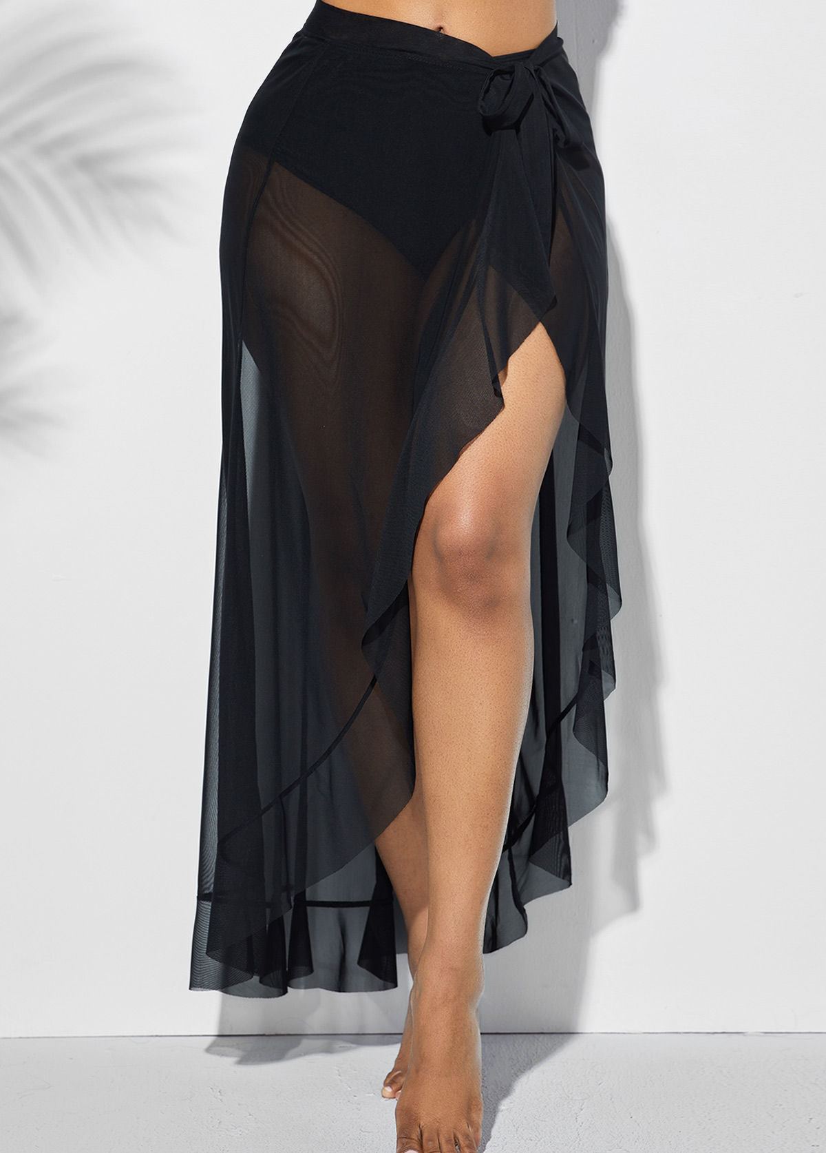 ROTITA Asymmetric Hem Side Slit One Piece Beach Skirt