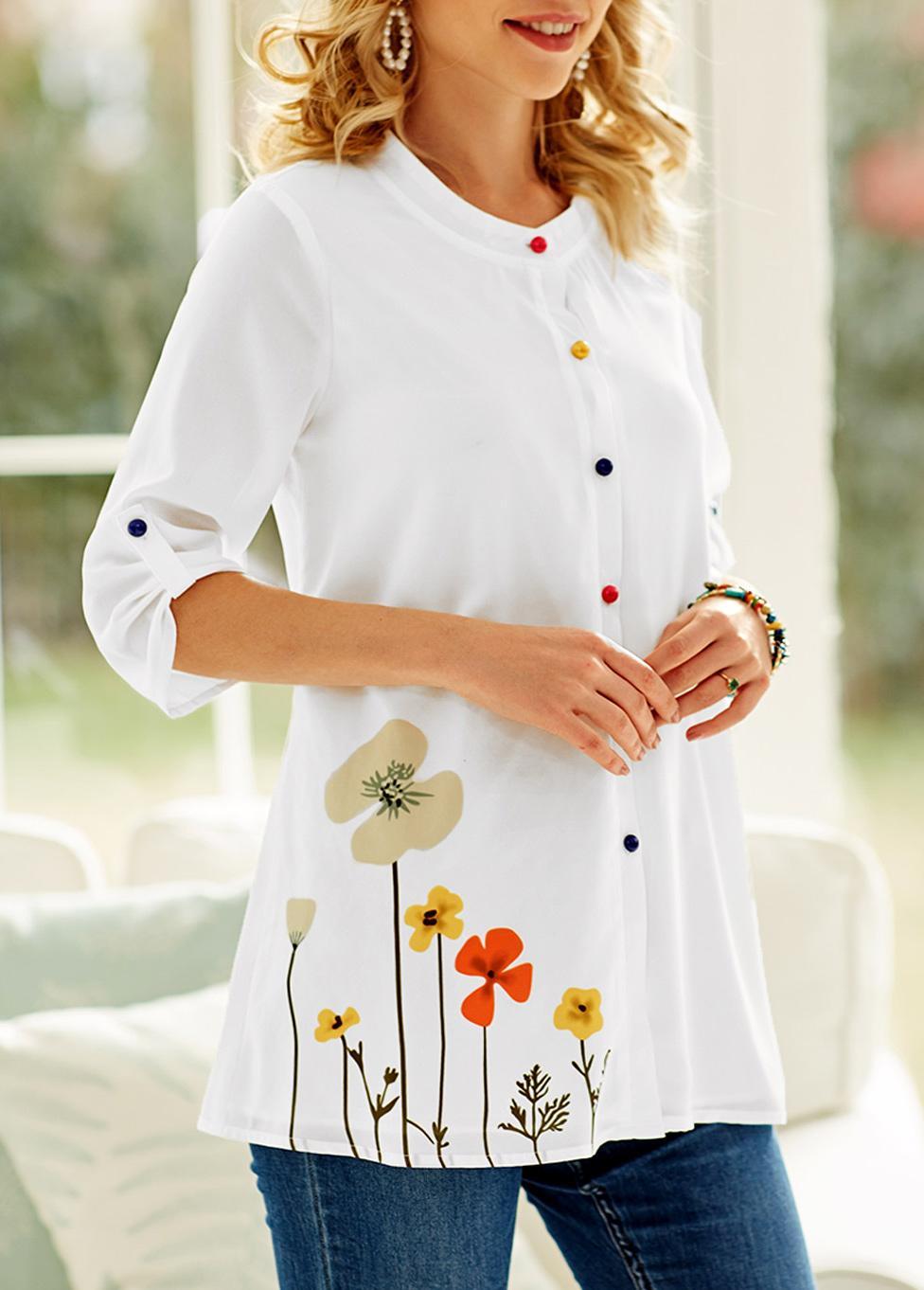 ROTITA Colorful Button Floral Print White Blouse