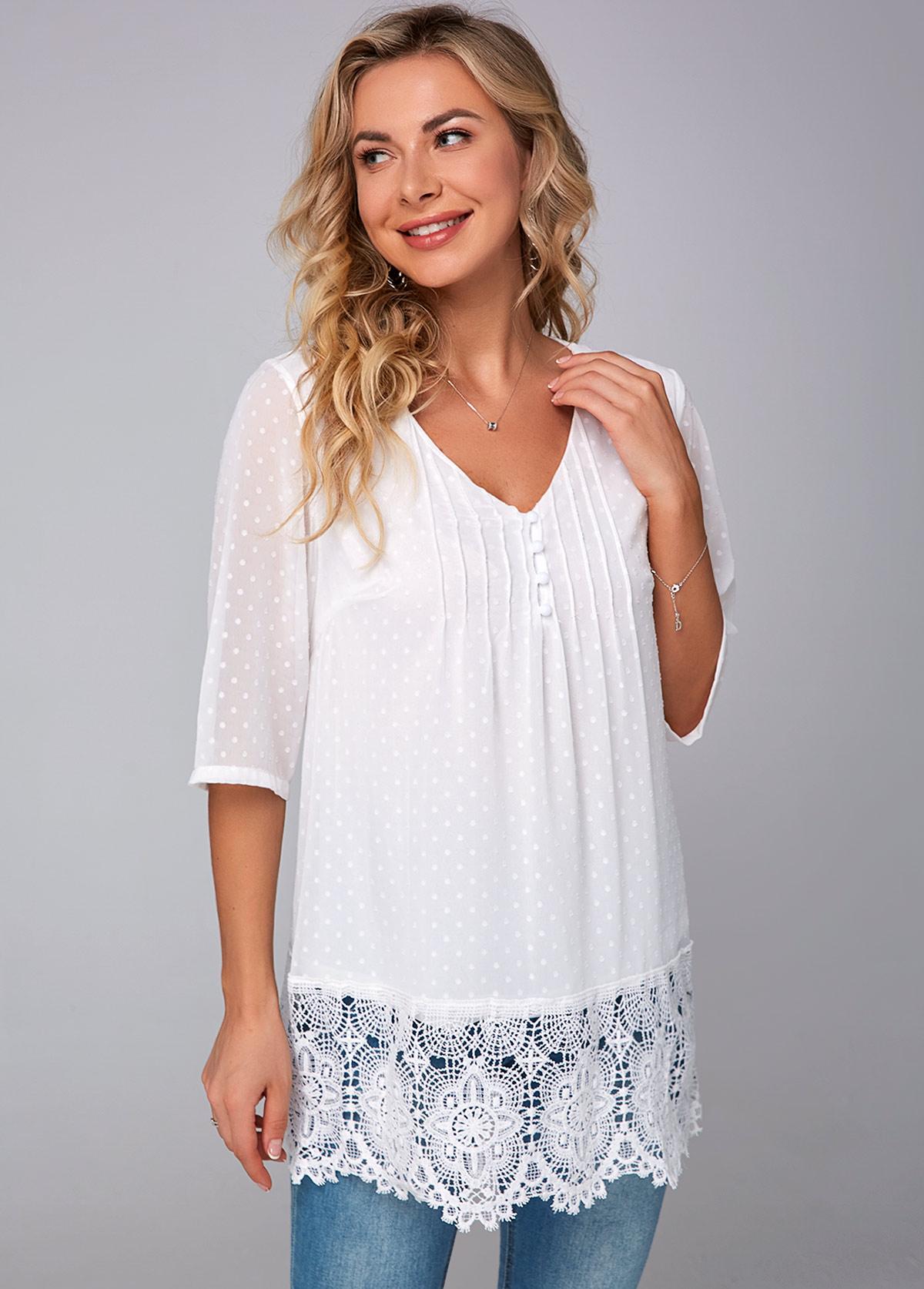 ROTITA V Neck Half Sleeve Lace Stitching Blouse