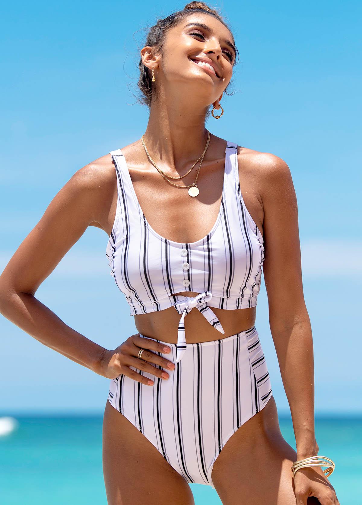 ROTITA Tie Front Striped Spaghetti Strap Bikini Set