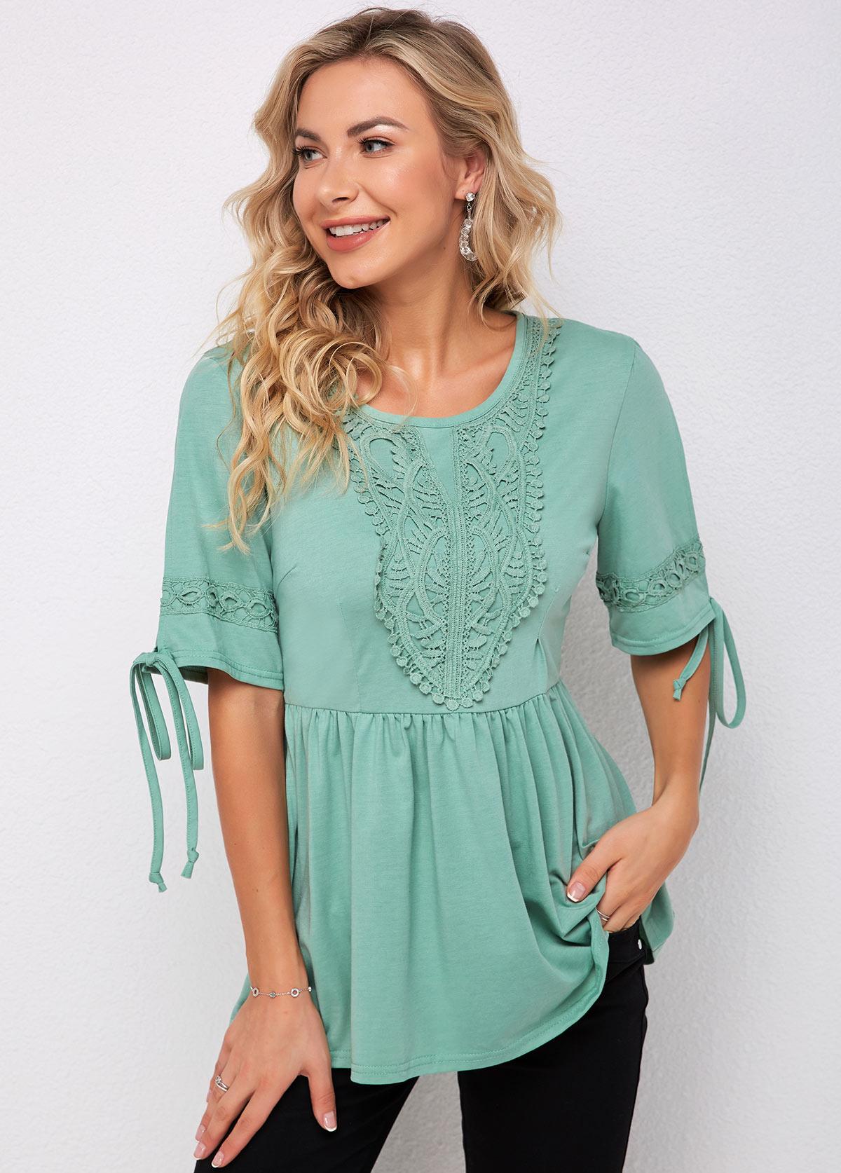 ROTITA V Neck Tie Sleeve Lace Stitching T Shirt