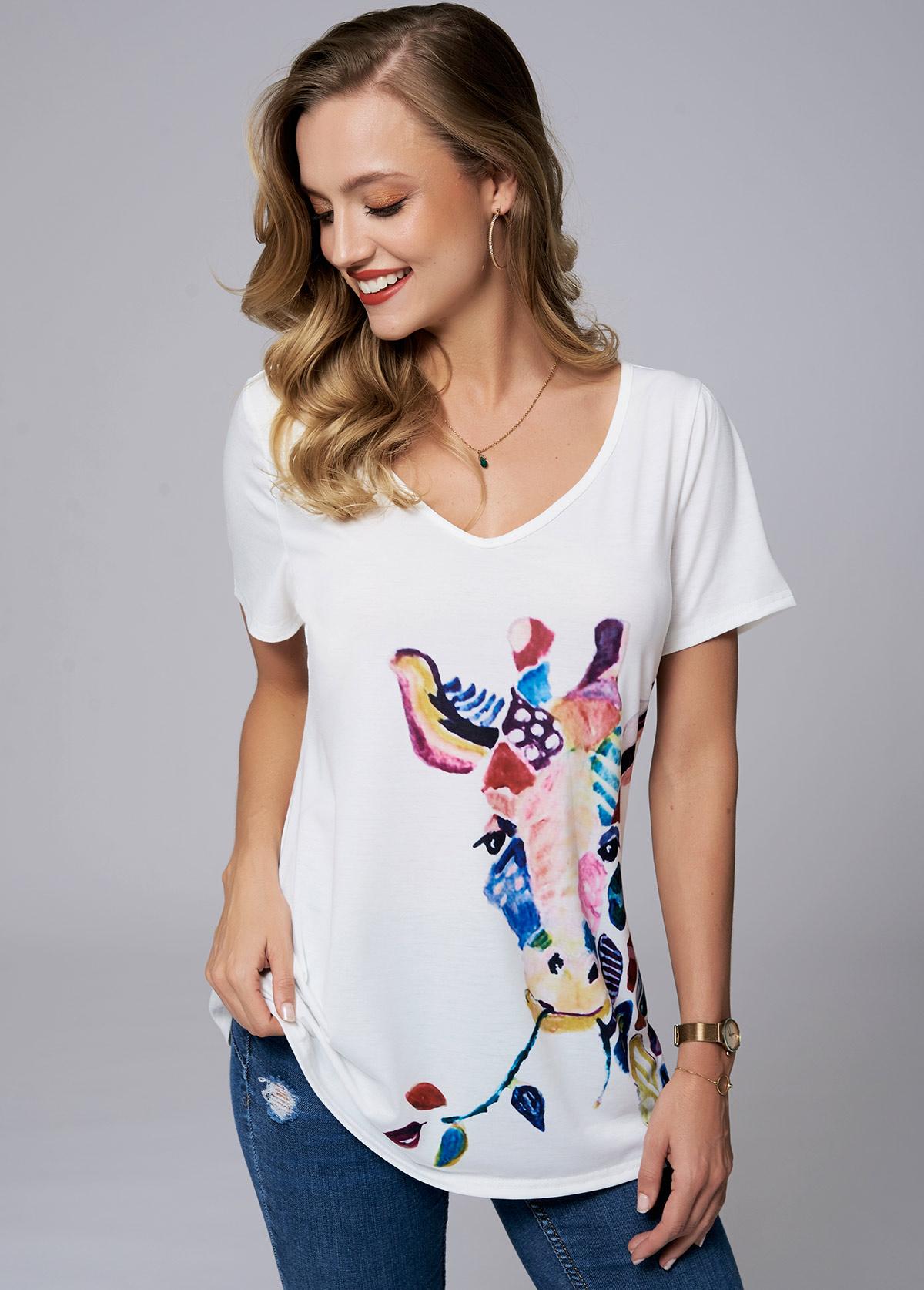 ROTITA V Neck Short Sleeve Giraffe print T Shirt