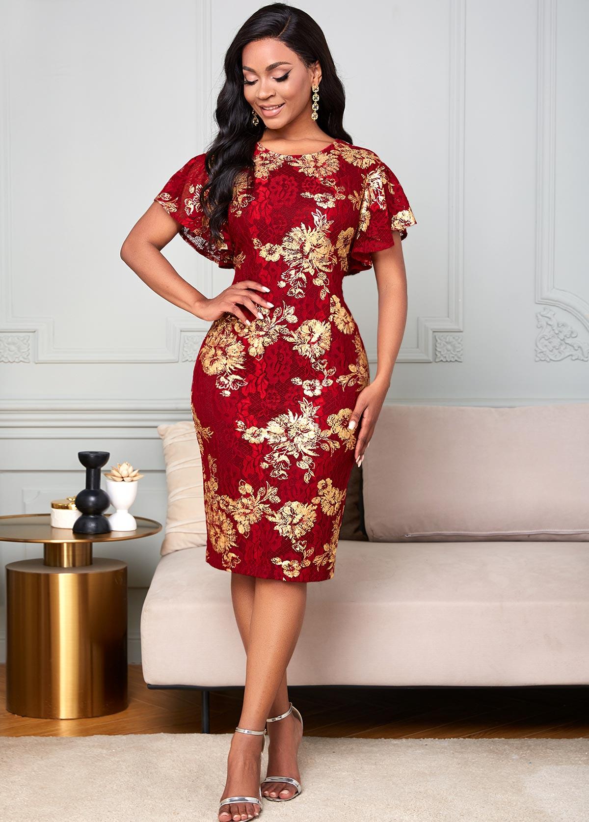 ROTITA Embroidered Mesh Stitching Round Neck Lace Dress