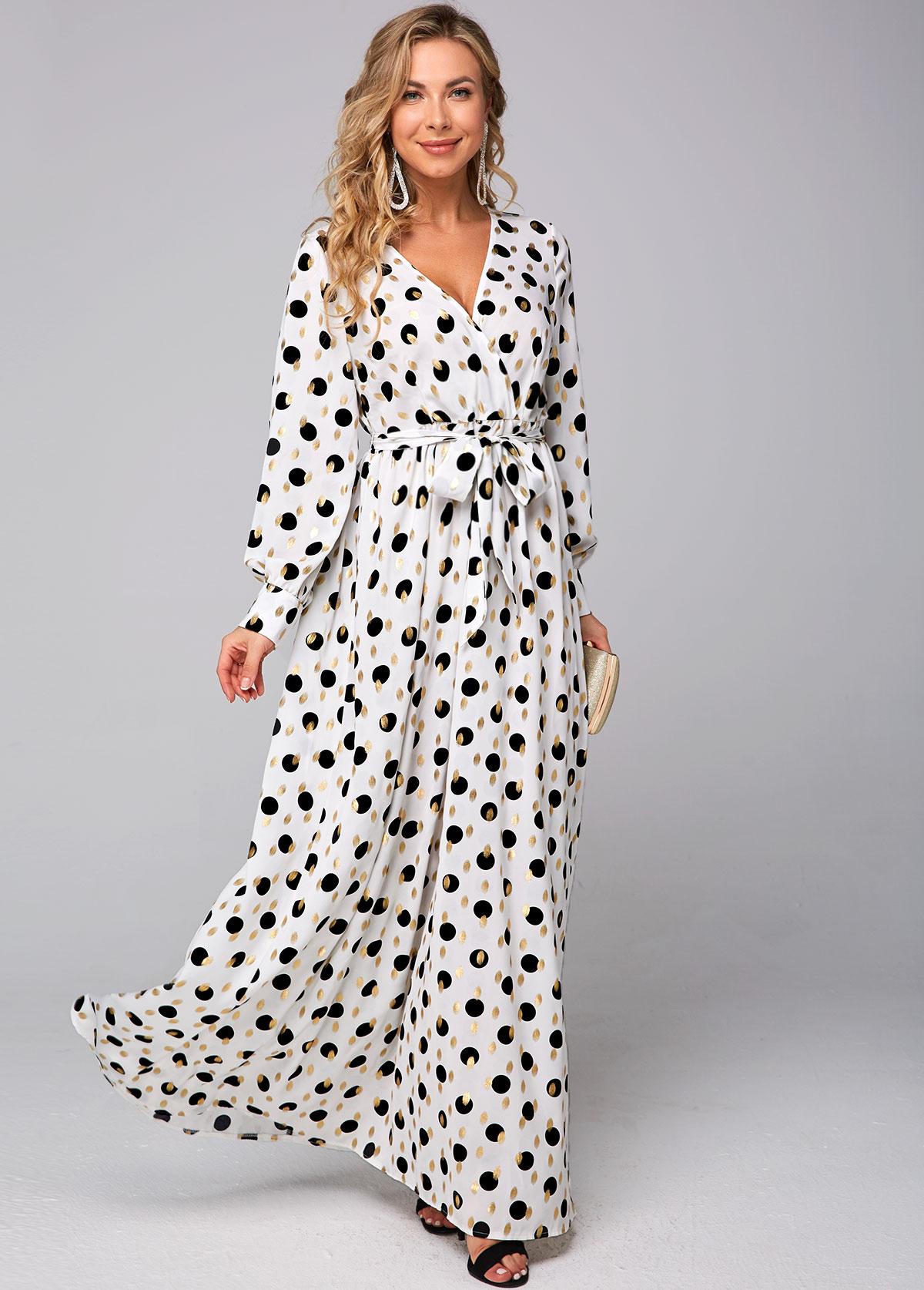 ROTITA Belted Hot Stamping Polka Dot Dress