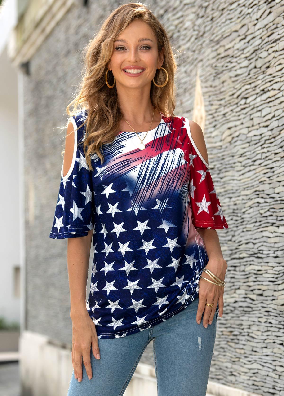 ROTITA American Flag Print Cold Shoulder T Shirt