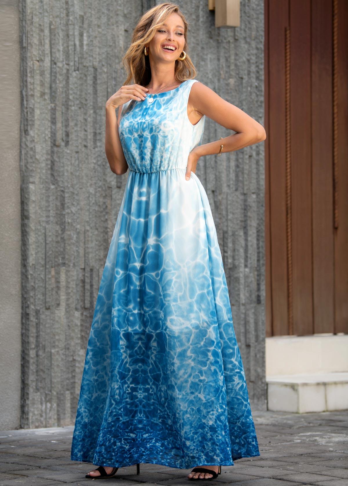 ROTITA Tie Dye Print Sleeveless V Back Maxi Dress