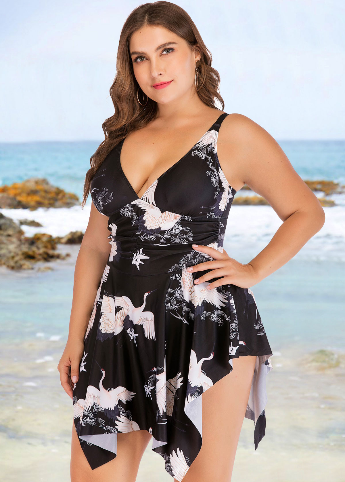 Plus Size Crane Print Asymmetric Hem One Piece Swimwear
