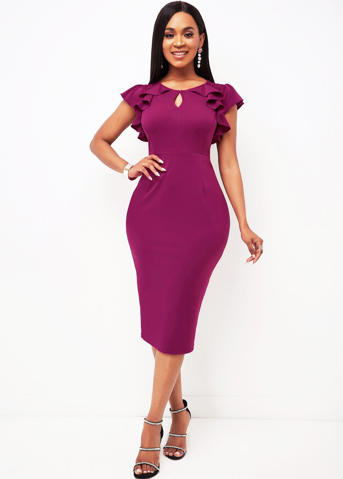 ROTITA Keyhole Neckline Lace Stitching Ruffle Sleeve Dress