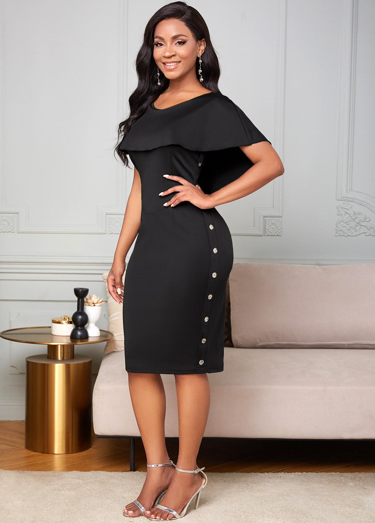 ROTITA Ruffle Overlay Inclined Button Bodycon Dress
