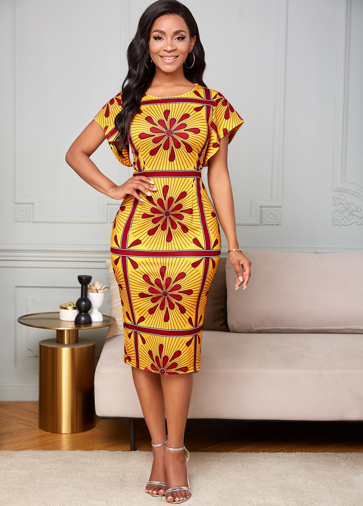 ROTITA Butterfly Sleeve Tribal Print Bodycon Dress