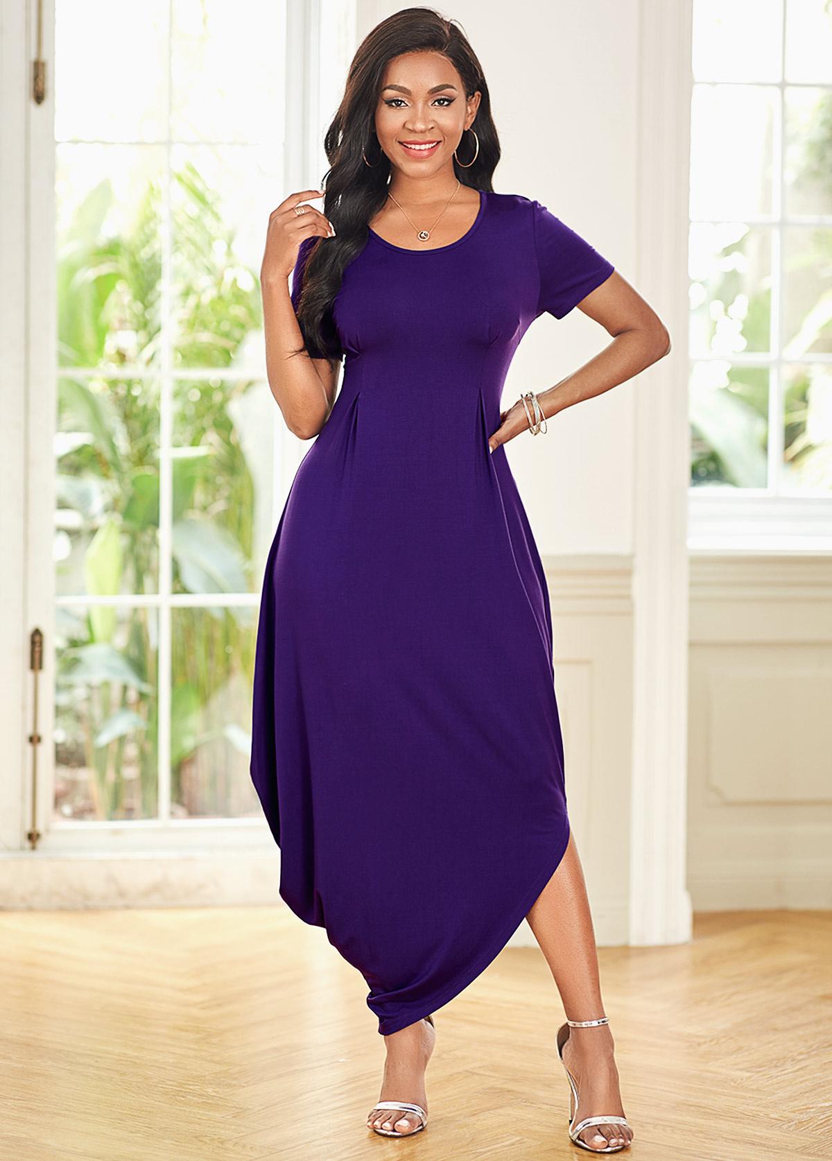 ROTITA Short Sleeve Round Neck Casual Dress