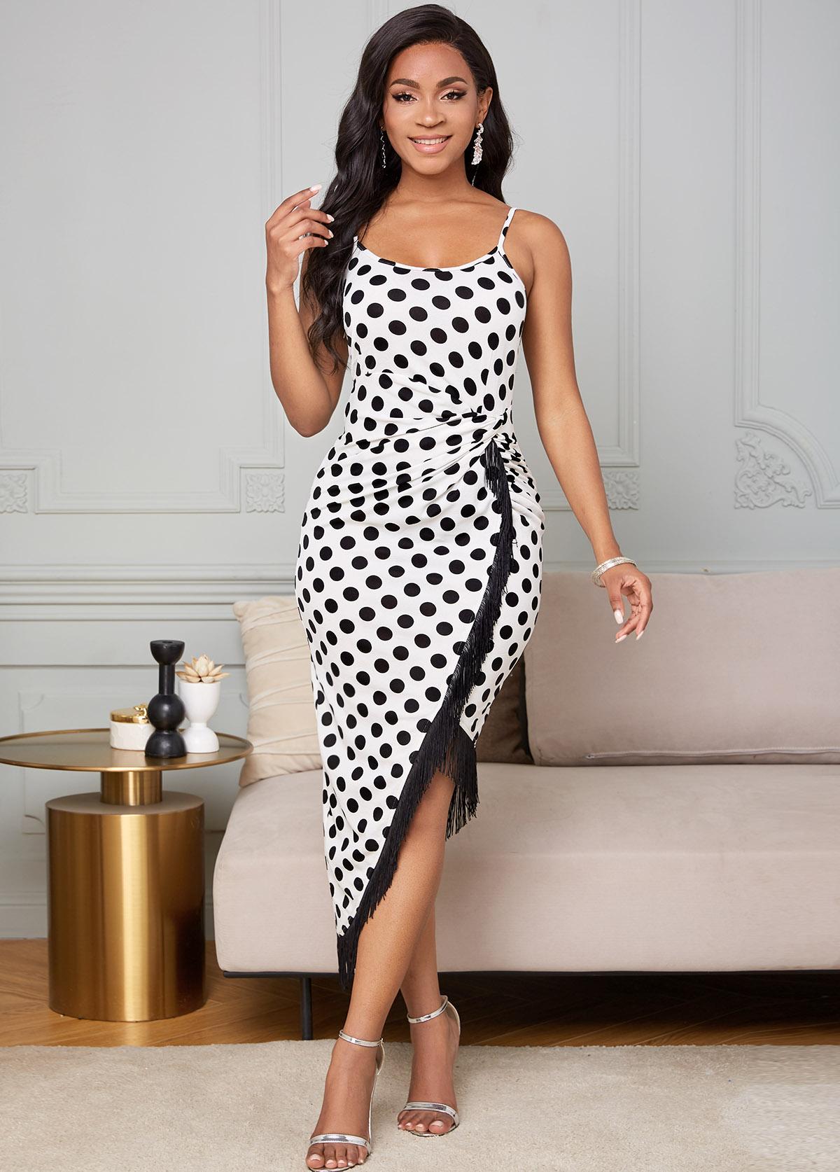 ROTITA Tassel Polka Dot Twist Front Bodycon Dress