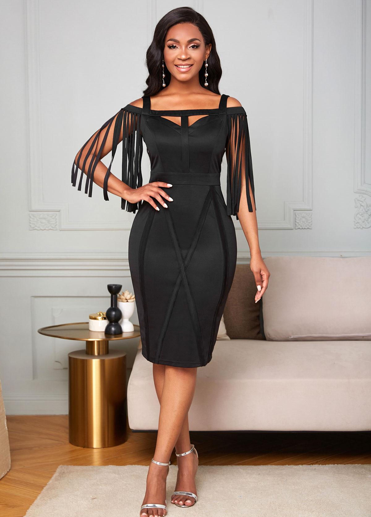 ROTITA Tassel Cold Shoulder Keyhole Neckline Dress
