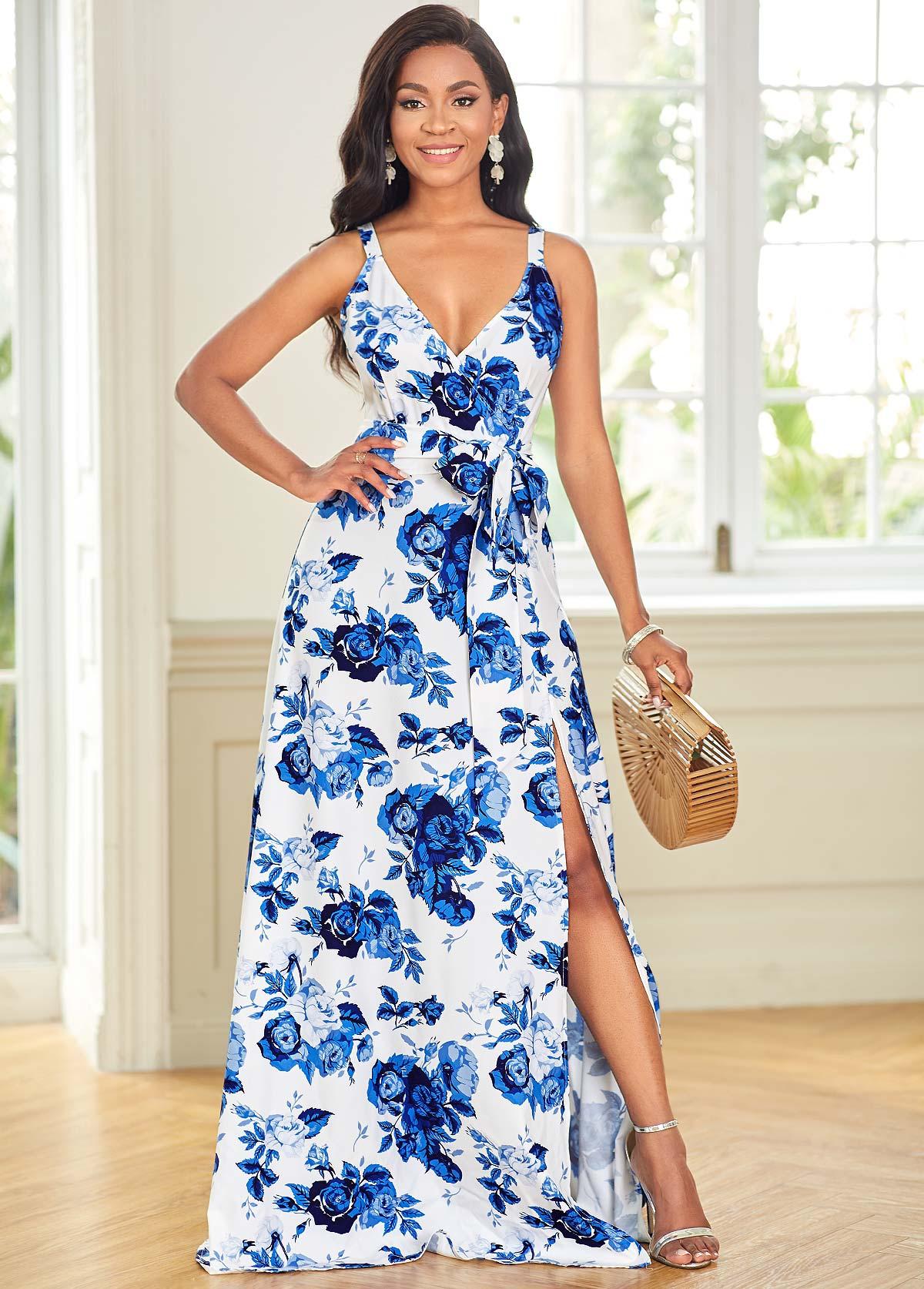 ROTITA Floral Print Spaghetti Strap High Slit Dress