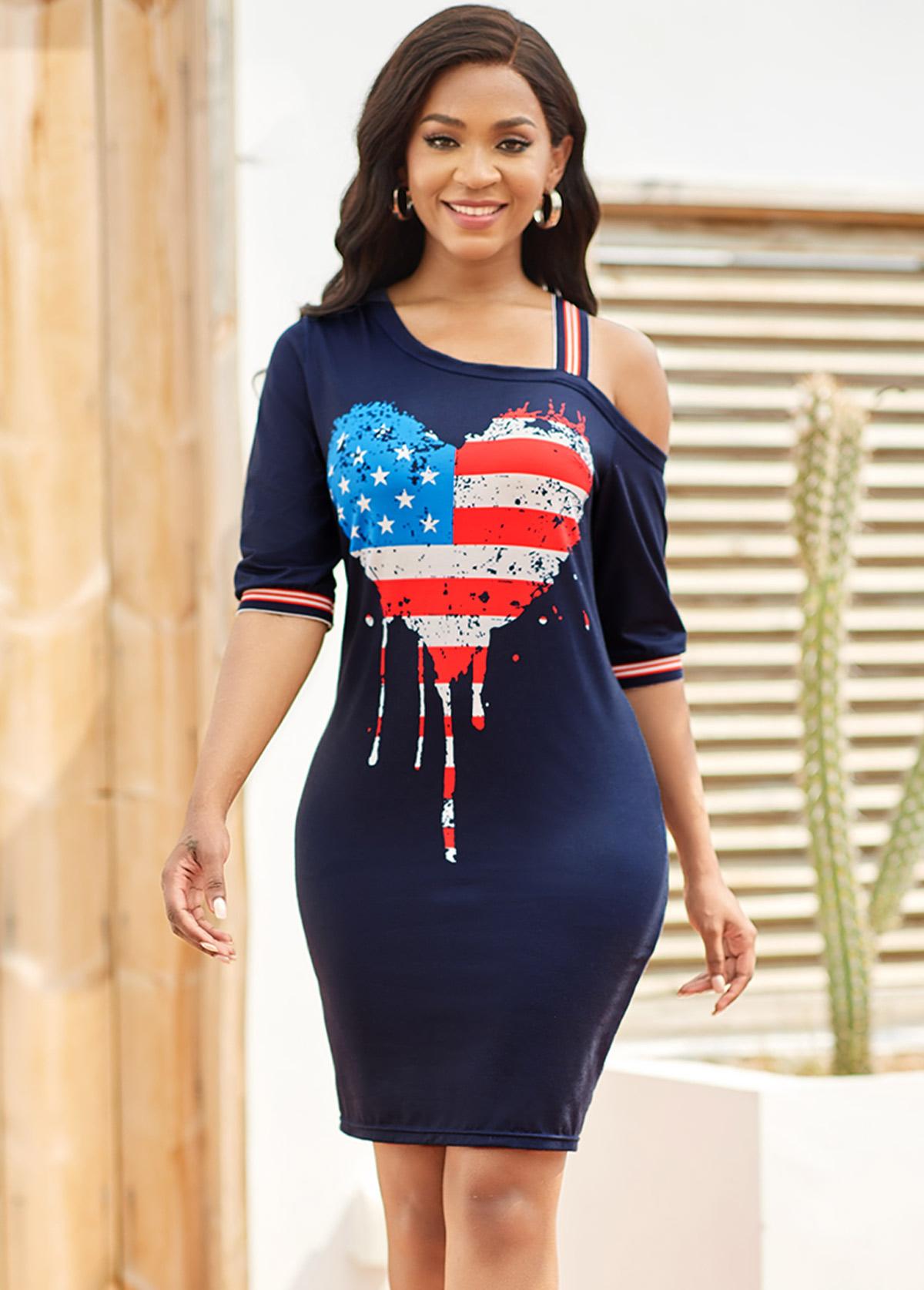 ROTITA American Flag Print Cold Shoulder Bodycon Dress