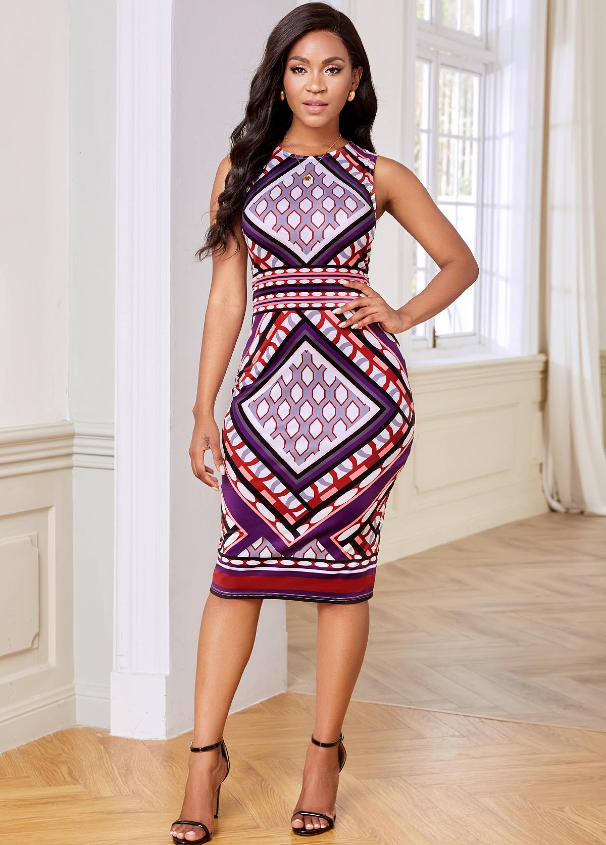 ROTITA Sleeveless Geometric Print Keyhole Back Dress