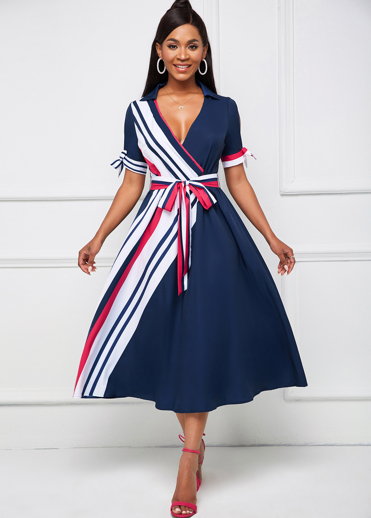 ROTITA Cold Shoulder Belted Striped Turndown Collar Dress