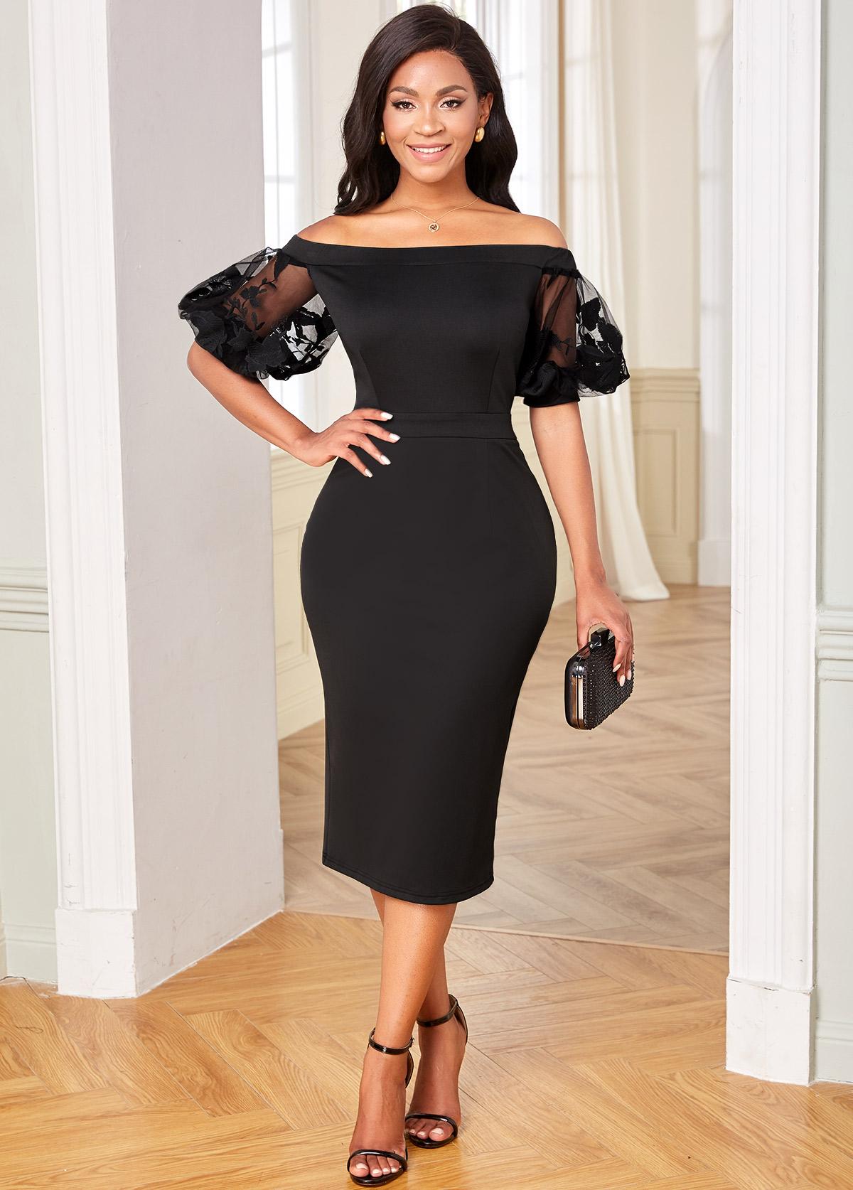 ROTITA Mesh Stitching Off Shoulder Half Sleeve Dress