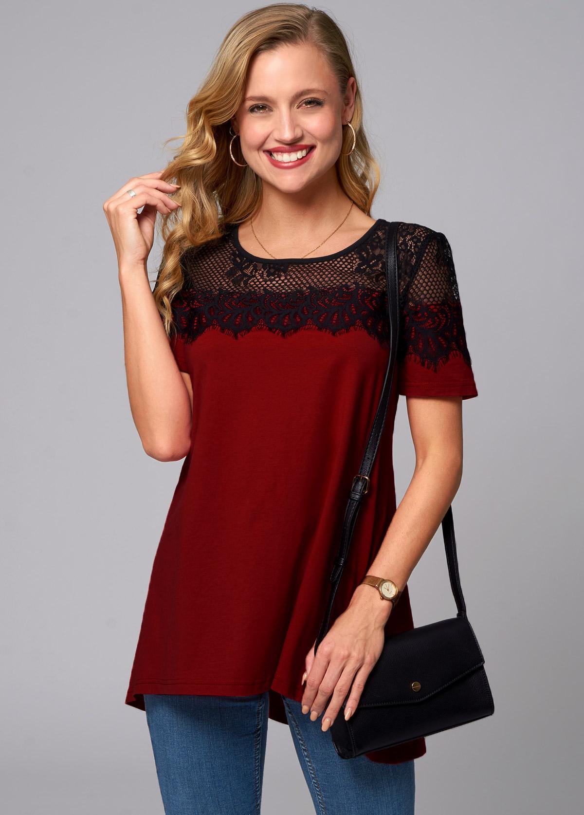 ROTITA Round Neck Short Sleeve Lace Stitching T Shirt