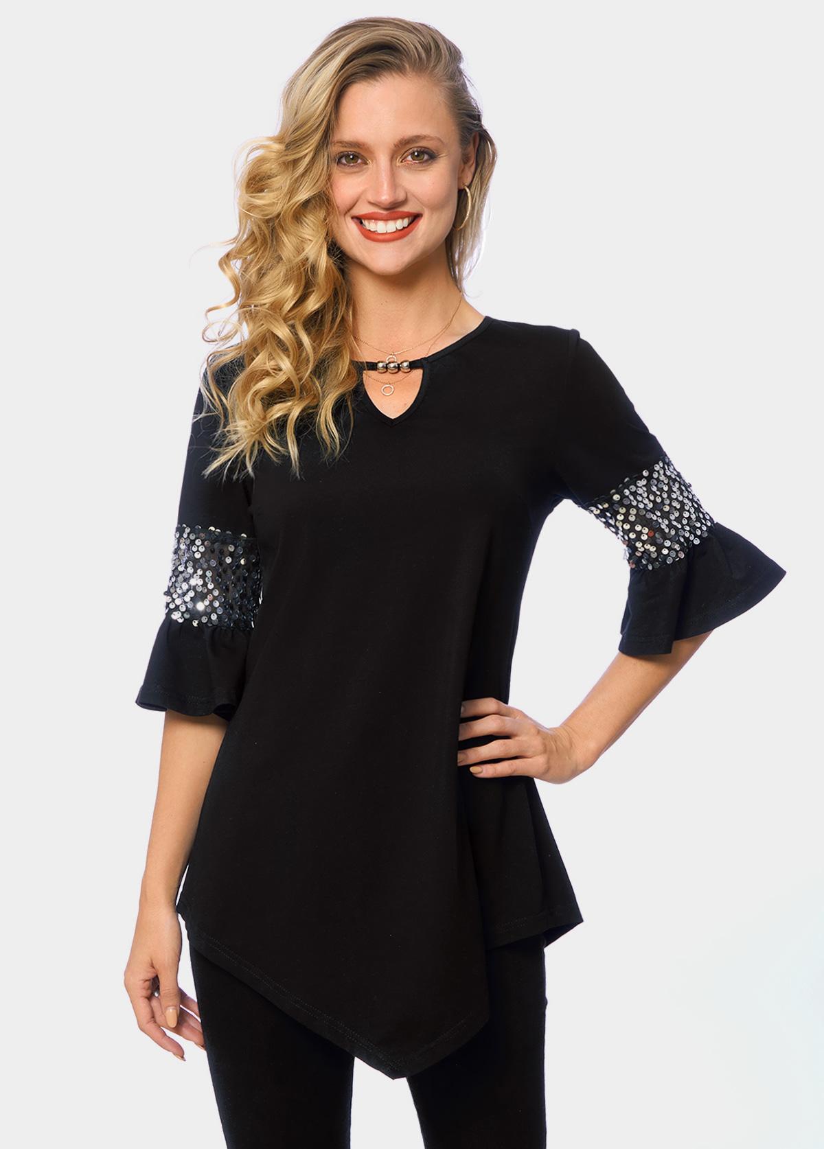 ROTITA Asymmetric Hem Keyhole Neckline Sequin T Shirt