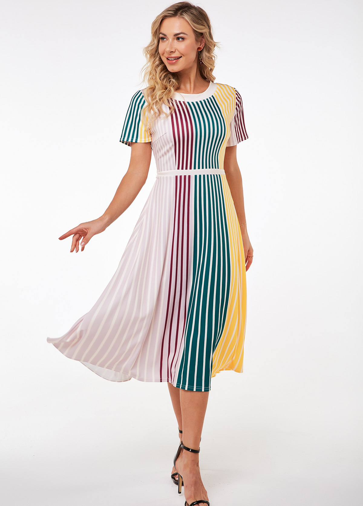 ROTITA Round Neck Short Sleeve Striped Dress