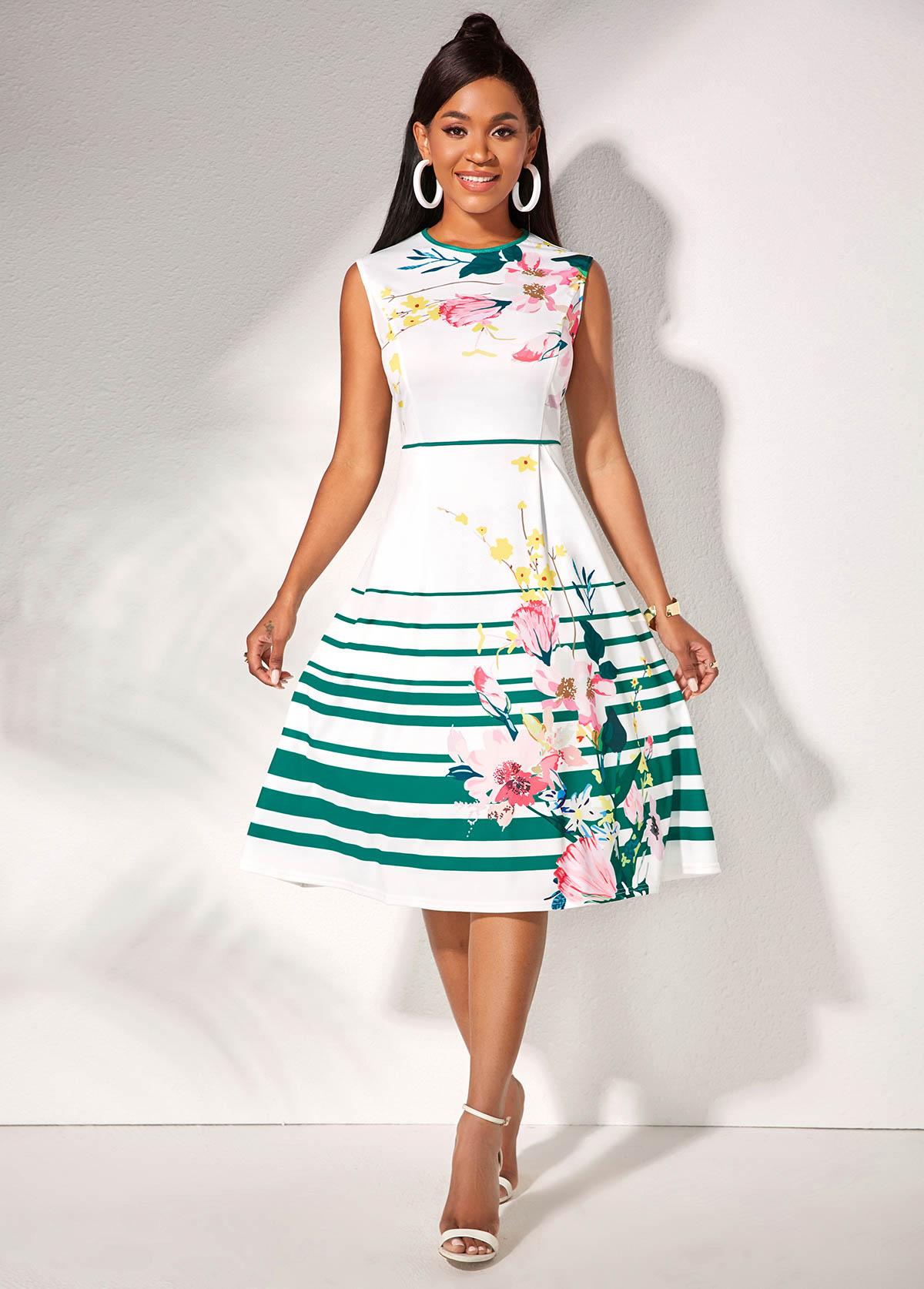ROTITA Round Neck Floral Print Sleeveless Dress