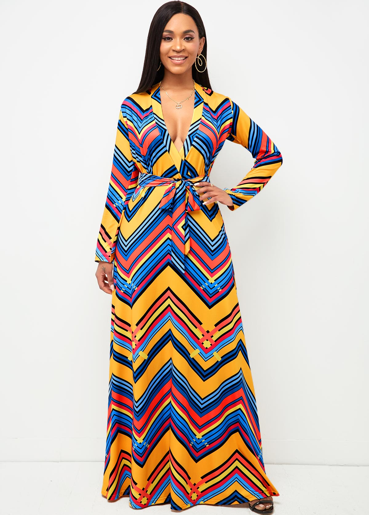 V Neck Geometric Print Belted Dress